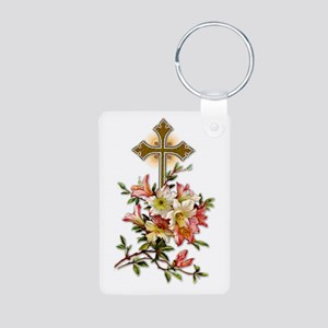 Easter Cross Aluminum Photo Keychain