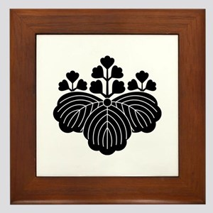 Paulownia with 5-3 blooms Framed Tile