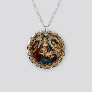 Mary and Baby Jesus Necklace Circle Charm
