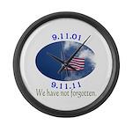 9-11 Not Forgotten Large Wall Clock