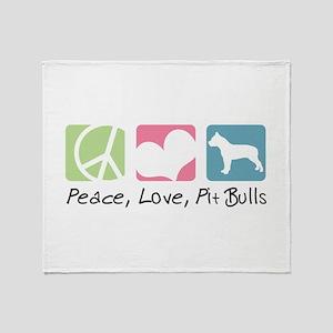 Peace, Love, Pit Bulls Throw Blanket
