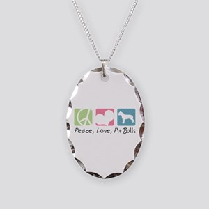 Peace, Love, Pit Bulls Necklace Oval Charm