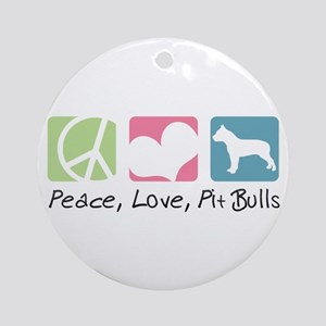 Peace, Love, Pit Bulls Ornament (Round)