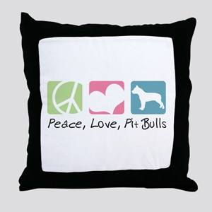 Peace, Love, Pit Bulls Throw Pillow