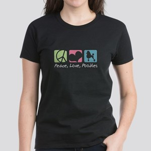 Peace, Love, Poodles Women's Dark T-Shirt