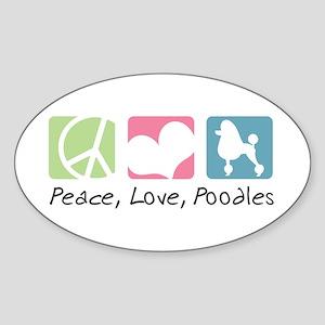Peace, Love, Poodles Sticker (Oval)