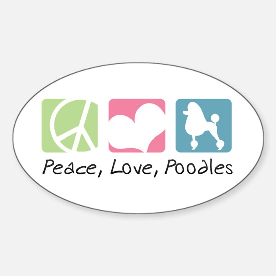 Peace, Love, Poodles Sticker (Oval)