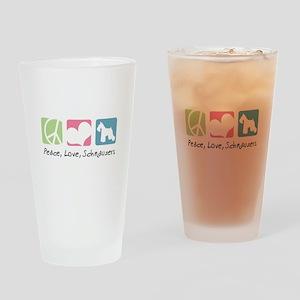 Peace, Love, Schnauzers Drinking Glass