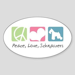 Peace, Love, Schnauzers Sticker (Oval)