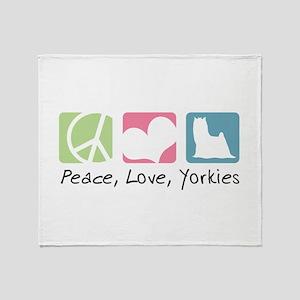 Peace, Love, Yorkies Throw Blanket