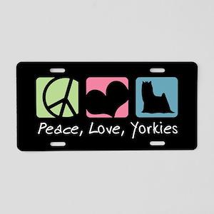 Peace, Love, Yorkies Aluminum License Plate