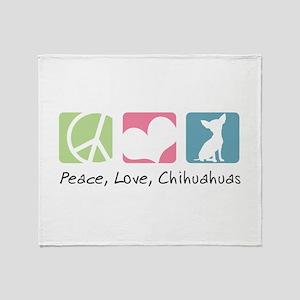 Peace, Love, Chihuahuas Throw Blanket