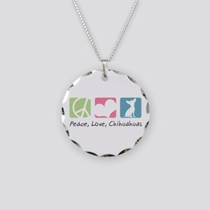 Peace, Love, Chihuahuas Necklace Circle Charm