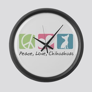 Peace, Love, Chihuahuas Large Wall Clock