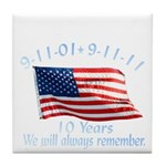 10 Years 9-11 Remember Tile Coaster