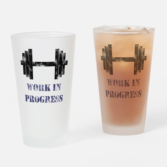 Gym Work In Progress Distress Drinking Glass