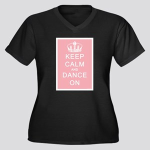 Keep Calm and Dance On (Pink) Women's Plus Size V-