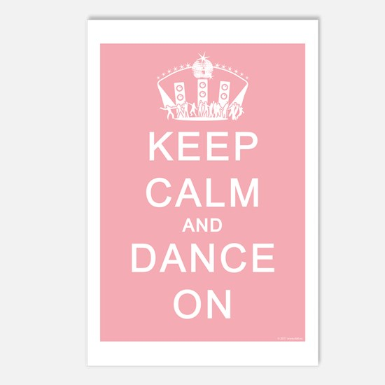Keep Calm and Dance On (Blue) Postcards (Package o