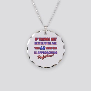 Funny 66th Birthdy designs Necklace Circle Charm