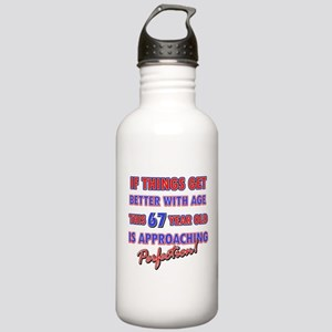 Funny 67th Birthdy designs Stainless Water Bottle
