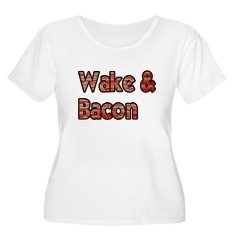 Wake And Bacon Shirt Women's Plus Size Scoop Neck