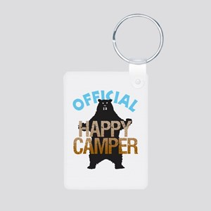 Happy Camper Aluminum Photo Keychain
