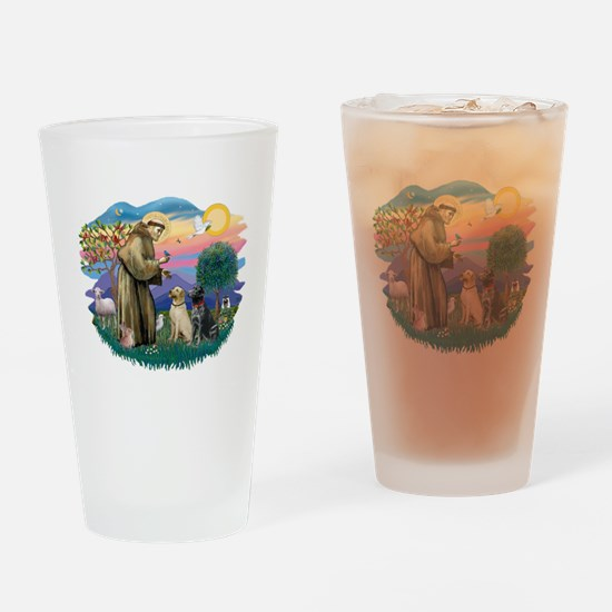 St.Francis #2/ Two Labradors Drinking Glass