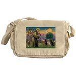 St. Francis/3 Labradors Messenger Bag