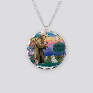 St.Francis #2/ Maltese #7 Necklace Circle Charm