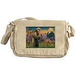 St Francis / Std Poodle(a) Messenger Bag