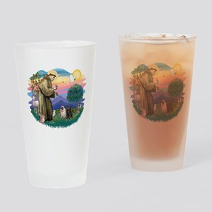 St.Francis #2/ Pugs (2-blk/f) Drinking Glass