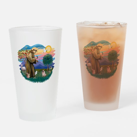 St Francis #2/ Pug (fawn) Drinking Glass