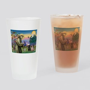 Saint Francis & Two Pugs Drinking Glass