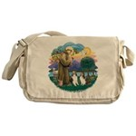 St.Francis (w) / 2 Shelties Messenger Bag