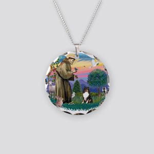 St.Francis #2/ Sheltie (tri) Necklace Circle Charm
