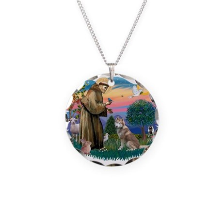 St Francis #2/ S Husky #2 Necklace Circle Charm