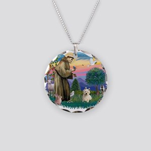 St Francis #2/ Westie #1 Necklace Circle Charm