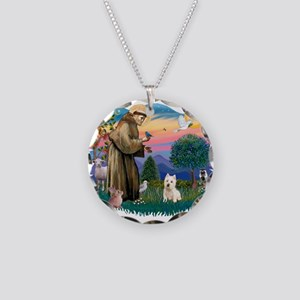 St Francis #2/ Westie Necklace Circle Charm
