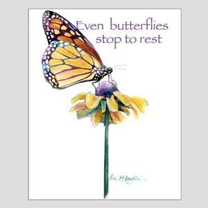Monarch butterfly resting Small Poster