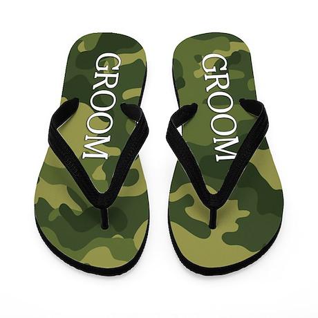 Wedding GROOM camo Flip Flops
