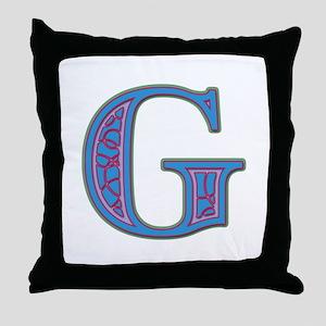 G Blue Glass Throw Pillow