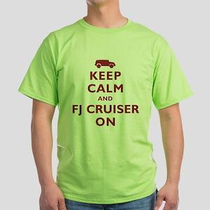 Keep Calm and FJ Cruiser On Green T-Shirt