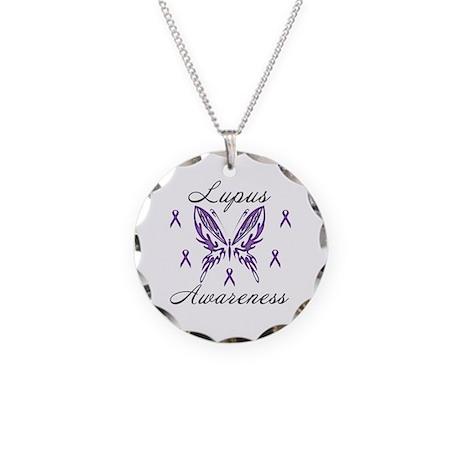 Lupus Awareness Necklace Circle Charm