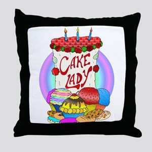 Cake Lady Baked Goods Throw Pillow