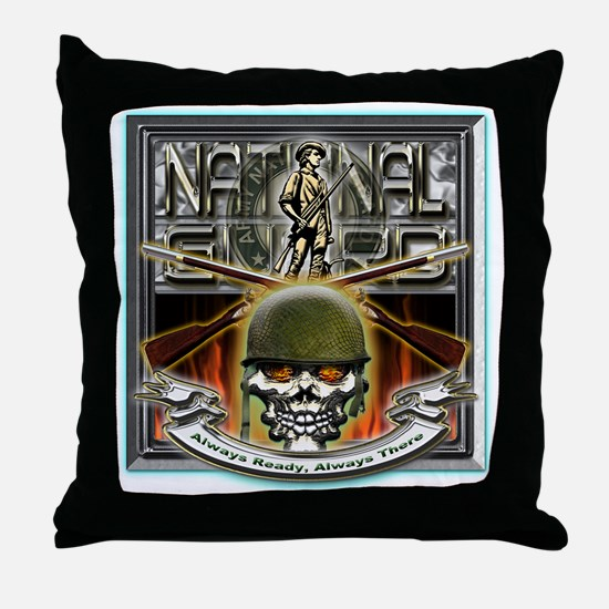 Army National Guard Skull and Throw Pillow
