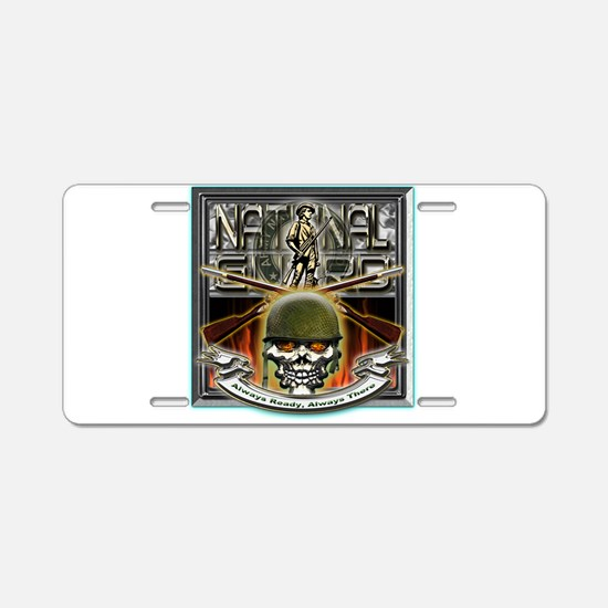 Army National Guard Skull and Aluminum License Pla
