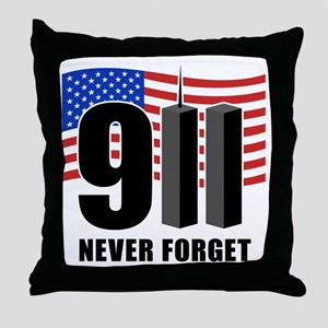 9-11 Never Forget Throw Pillow