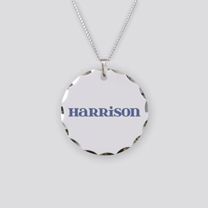 Harrison Blue Glass Necklace Circle Charm