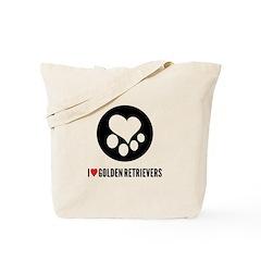 I Heart Golden Retrievers Tote Bag