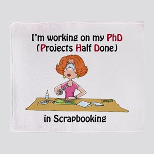 Scrapbooking PhD Throw Blanket